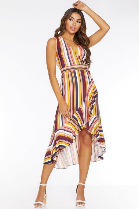 Multicolored Stripe Wrap Front Midi Dress