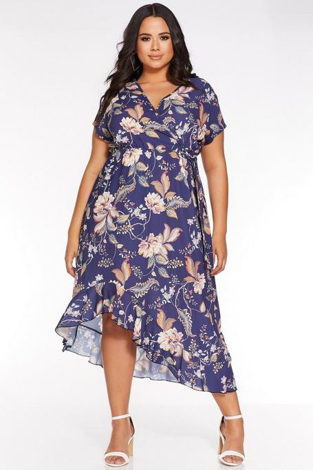 Plus Size Navy Abstract Floral Wrap Dress