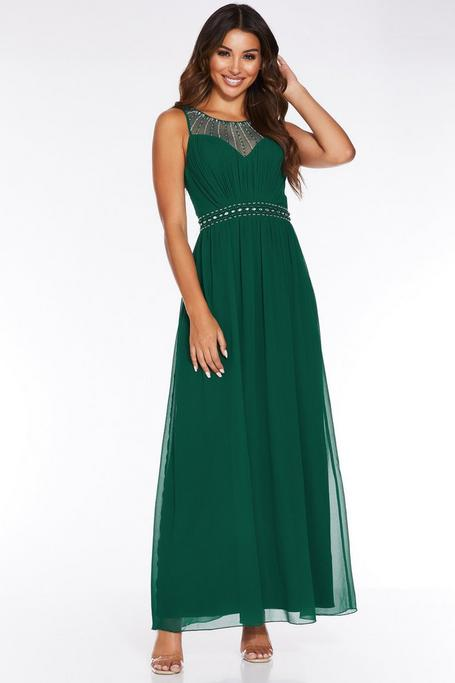 Bottle Green Chiffon High Neck Embellished Maxi Dress
