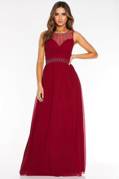 Berry Chiffon High Neck Embellished Maxi Dress