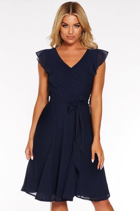 Navy Chiffon Frill Ruched Midi Dress