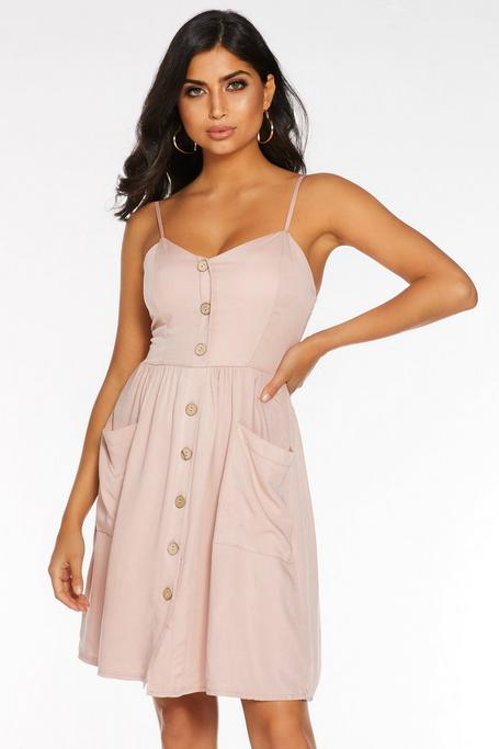 Pink Strappy Button Front Sun Dress
