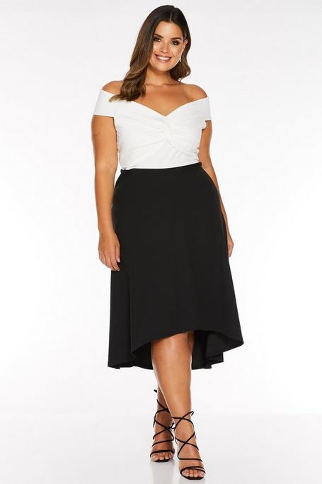 Plus Size Cream and Black Knot Front Dip Hem Dress