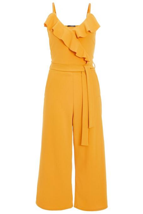 Mustard Frill Front Culotte Jumpsuit