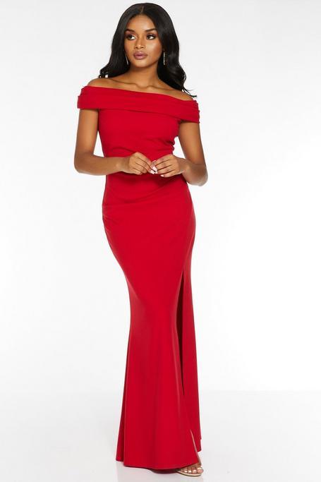 Petite Red Off The Shoulder Split Maxi Dress