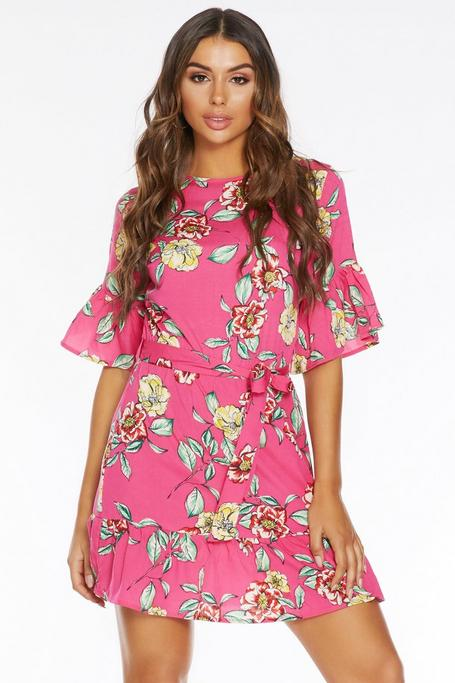 Pink and Yellow Floral Frill Hem Dress