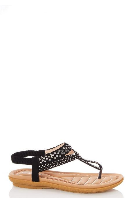Black Diamante Loop Flat Sandals