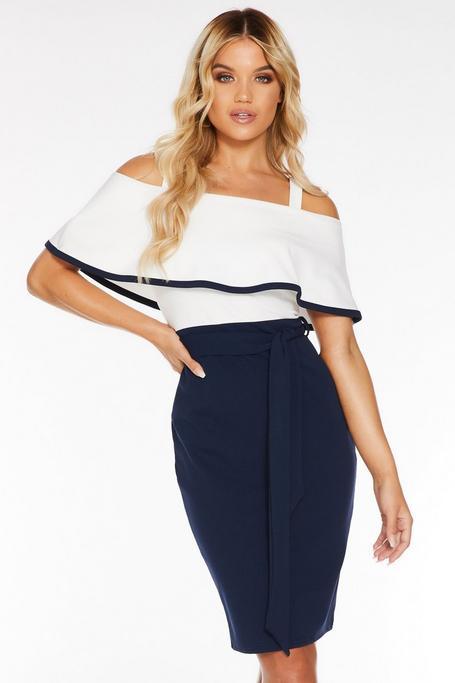 Cream And Navy Bardot Midi Dress