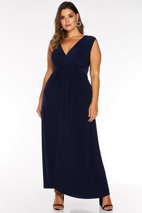 Plus Size Navy Knot Front Maxi Dress