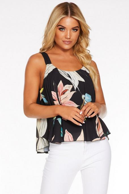 Top Negro Floral sin Mangas