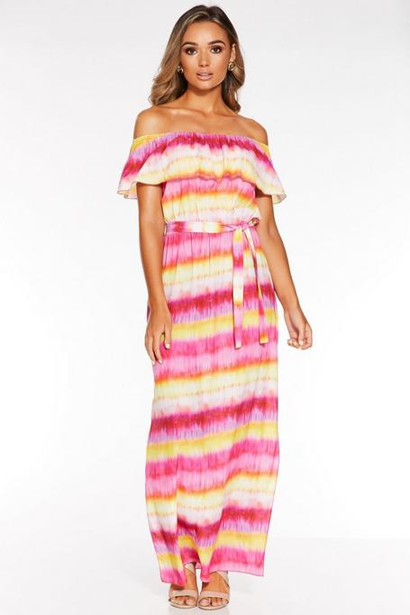 Yellow And Pink Off The Shoulder Tie Dye Maxi Dress