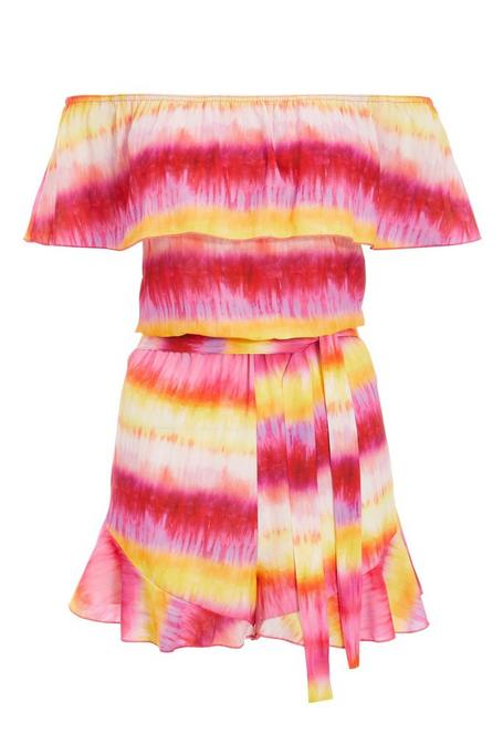 Yellow And Pink Off The Shoulder Tie Dye Romper