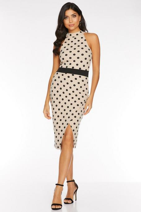 Stone And Black Polka Dot Midi Dress