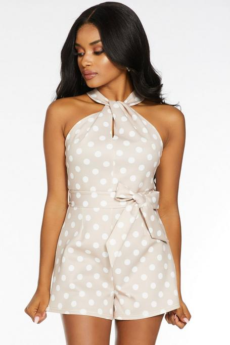 Petite Stone And Cream Polka Dot Romper