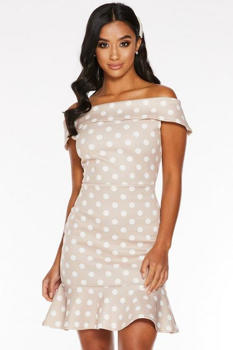 Petite Stone Polka Dot Off The Shoulder Bodycon Dress