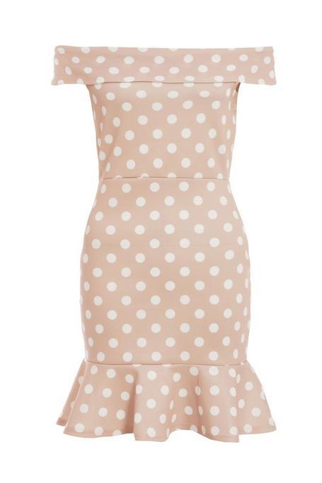 Petite Stone Polka Dot Off The Shoulder Bodycon Dress