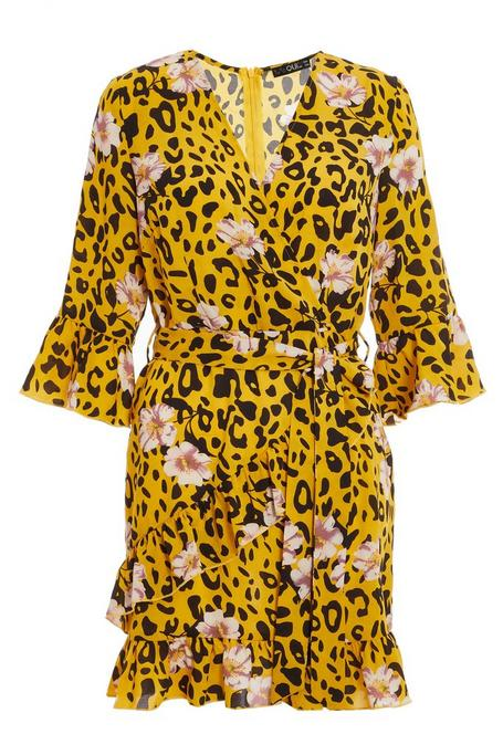Petite Yellow Leopard Floral Wrap Dress
