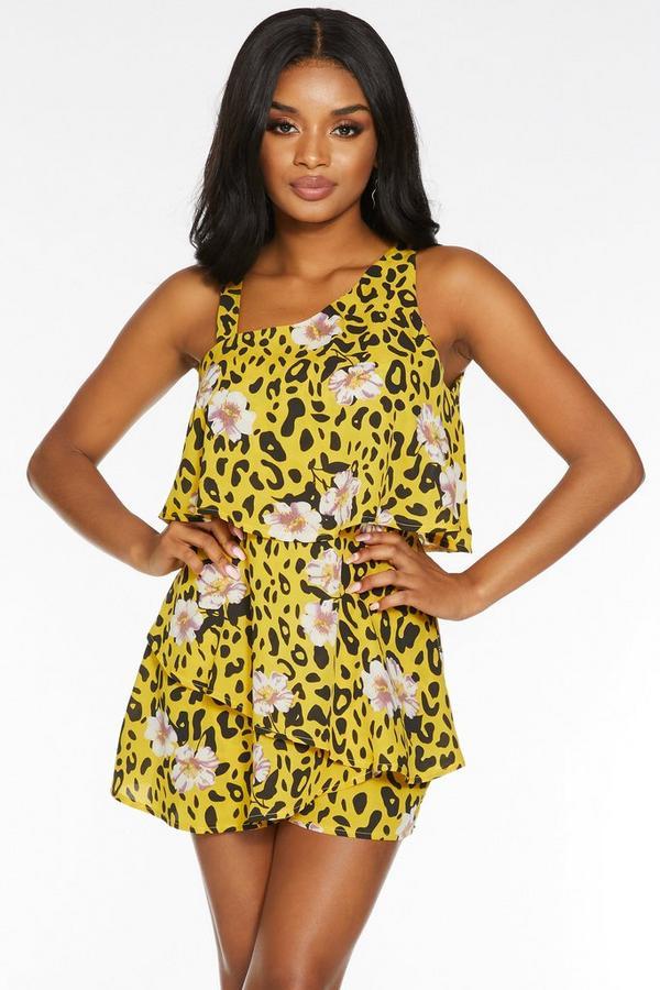 Petite Yellow Leopard Print Romper