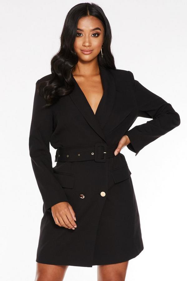 Petite Black Belted Blazer Dress