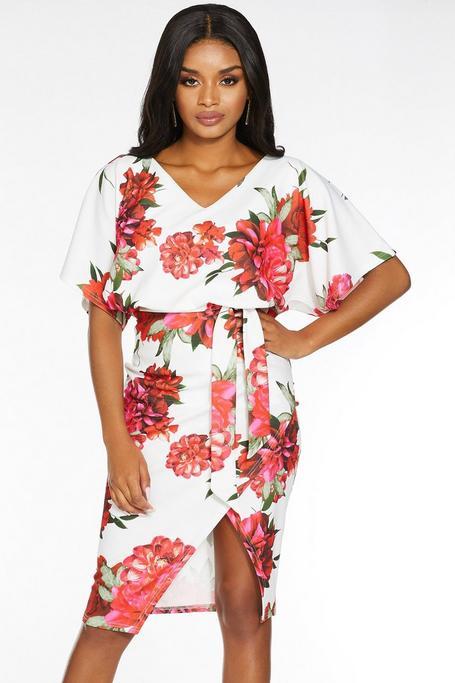 Vestido Petite Floral Blanco y Rojo