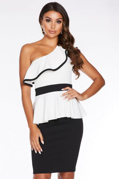 Black and White One Shoulder Peplum Midi Dress