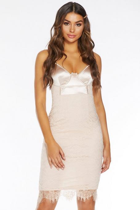 Champagne Satin Lace Strappy Midi Dress