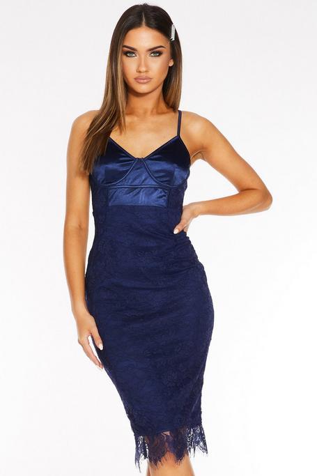 Navy Satin Lace Strappy Midi Dress