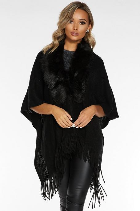 Black Faux Fur Trim Knit Cape
