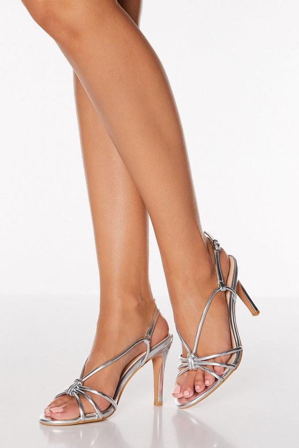 Sandalias de Tacón Plateado con Brillantes