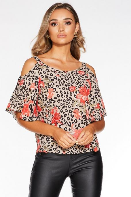 Stone and Red Animal Print Cold Shoulder Top