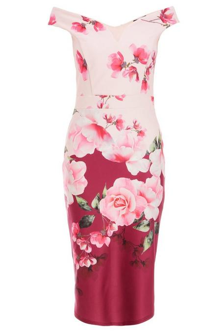 Pink and Berry Floral Off The Shoulder Midi Dress