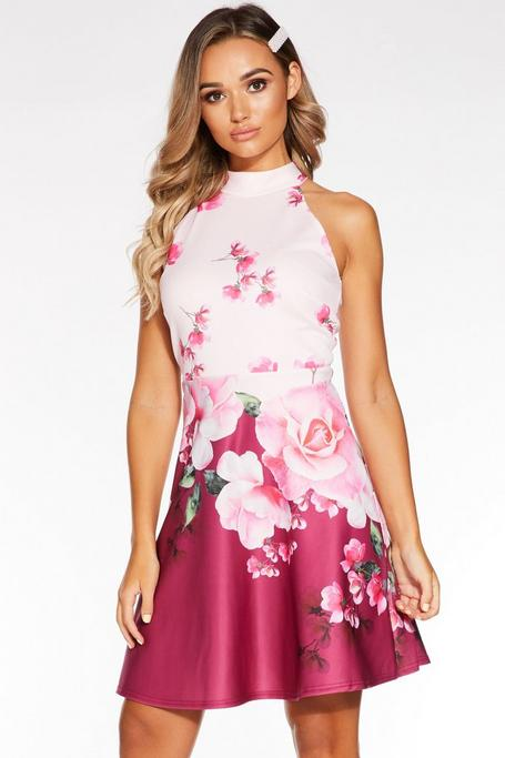 Pink And Berry Floral Halterneck Skater Dress