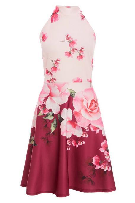 Pink And Berry Floral Halterneck Skater Dress