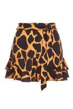 Mustard Giraffe Print High Waist Frill Shorts