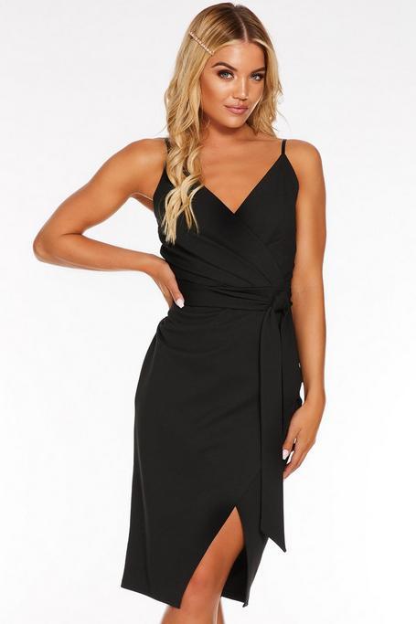 Black Wrap Front Strappy Midi Dress