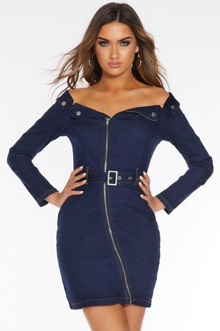 Blue Denim Off The Shoulder Zip Front Dress