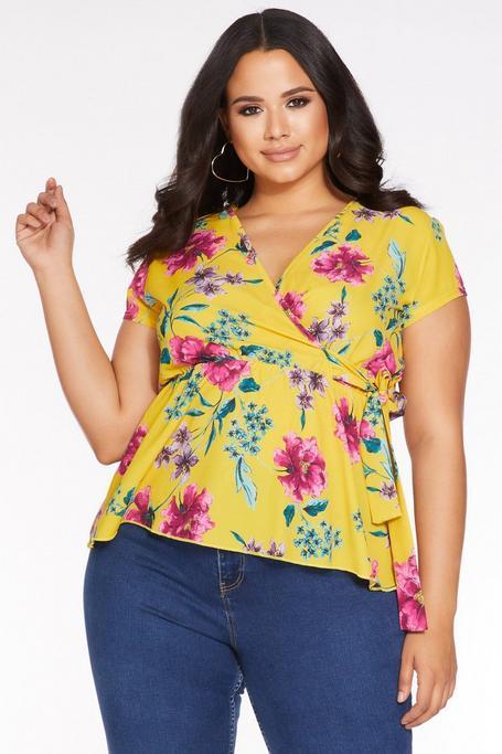 Plus Size Mustard Floral Print Peplum Top