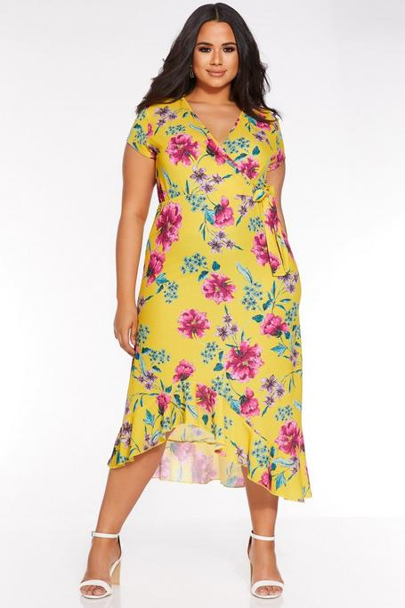 Plus Size Mustard Floral Print Asymmetric Wrap Dress