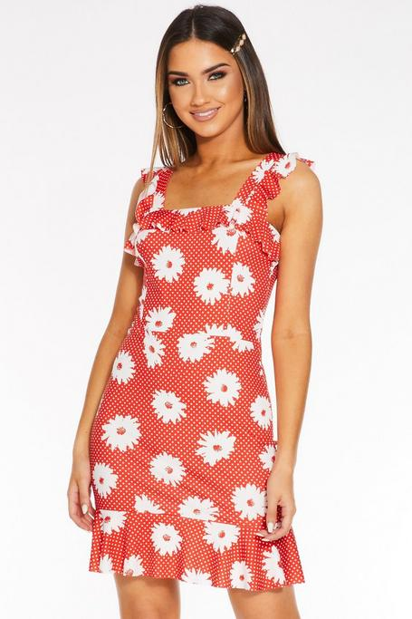 Red and White Polka Dot Floral Frill Sleeve Dress