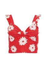 Red and White Polka Dot Floral Knot Front Top
