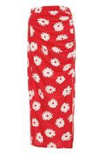 Red and White Polka Dot Floral Split Midi Skirt