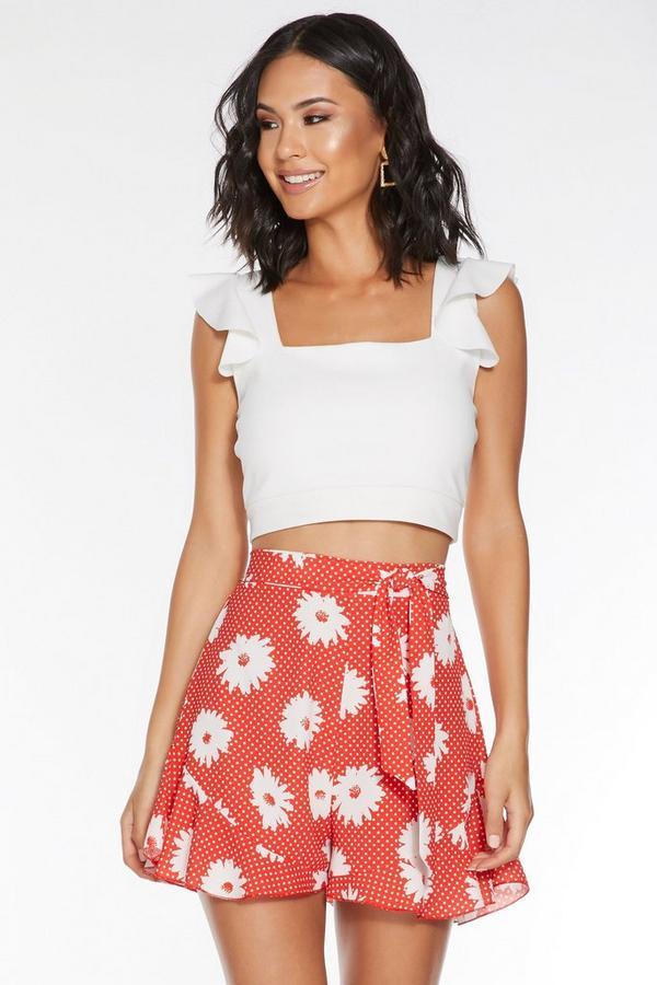 Short Rojo con Estampado Floral y de Lunares