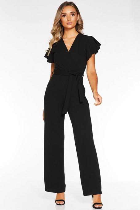 Black Wrap Front Frill Sleeve Palazzo Jumpsuit