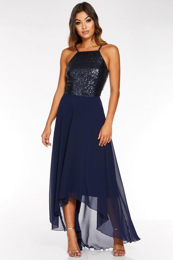 Vestido Largo Azul Marino con Bajo Asimétrico y Lentejuelas