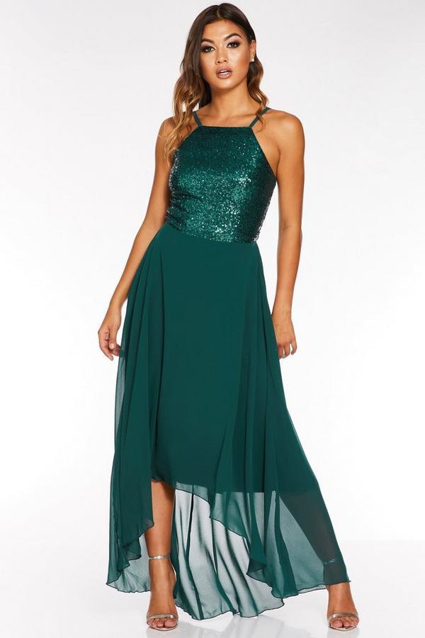 Vestido Largo Verde con Bajo Asimétrico y Lentejuelas