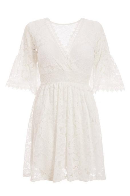 Cream Lace Wrap Flute Sleeve Skater Dress