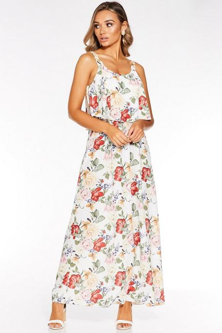 Cream and Red Floral Print Maxi Dress