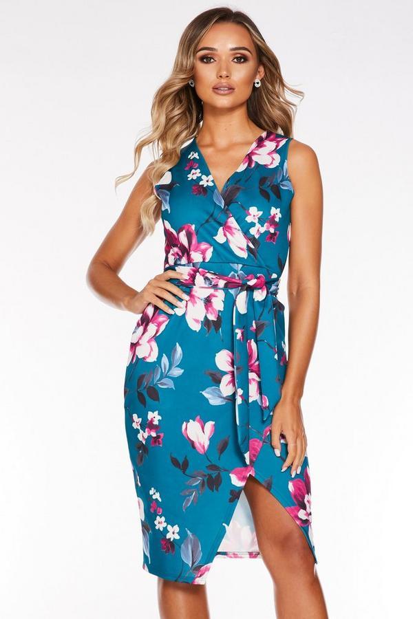 Vestido Turquesa con Estampado de Flores