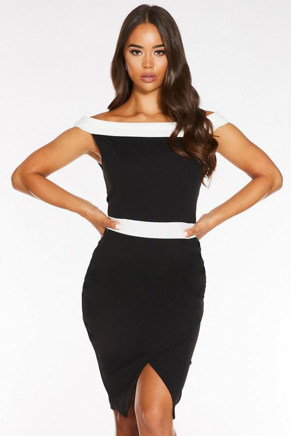 Vestido Midi Negro con Escote Bardot y Contraste