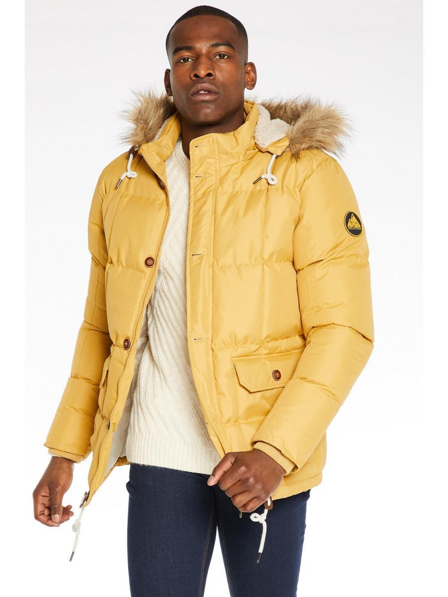 Button Through Fur Hooded Parka In Mustard